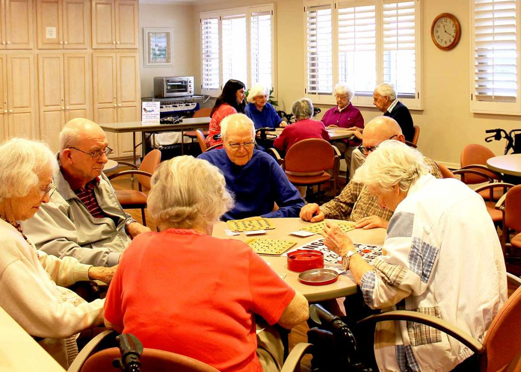 A group of seniors playing Bingo at Wood Glen Hall Assisted Living