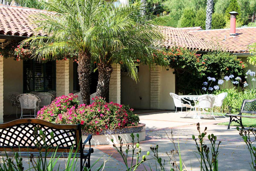 Our Dining Room Courtyard at Wood Glen Hall Assisted Living in Santa Barbara