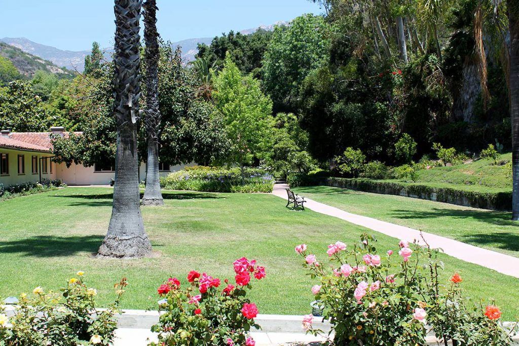 The East Lawn and Walking Path at Wood Glen Hall Assisted Living in Santa Barbara