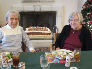 Two residents of a Santa Barbara Assisted Living Community, Wood Glen Hall, enjoying their special birthday luncheon