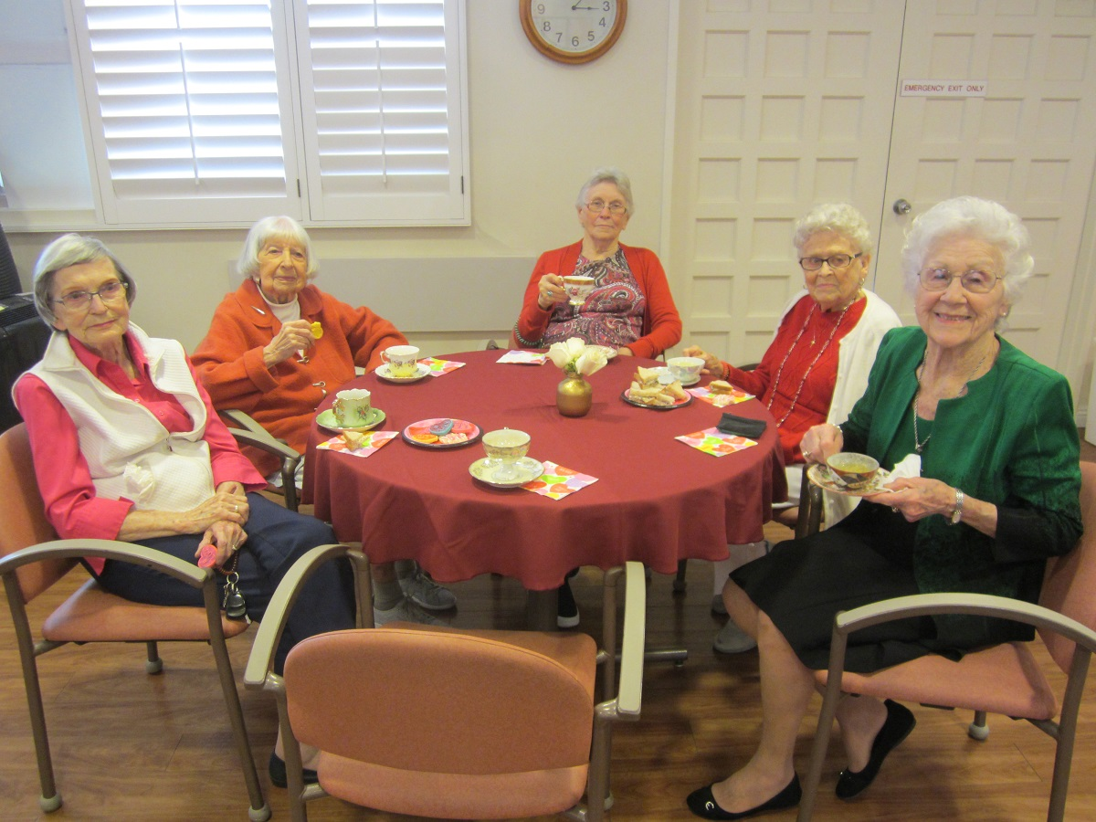 Santa Barbara Assisted Living Residents enjoying a Valentine's Day Tea
