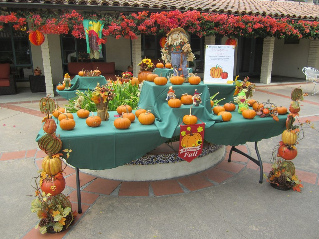 pumpkin patch set up at Wood Glen Hall assisted living