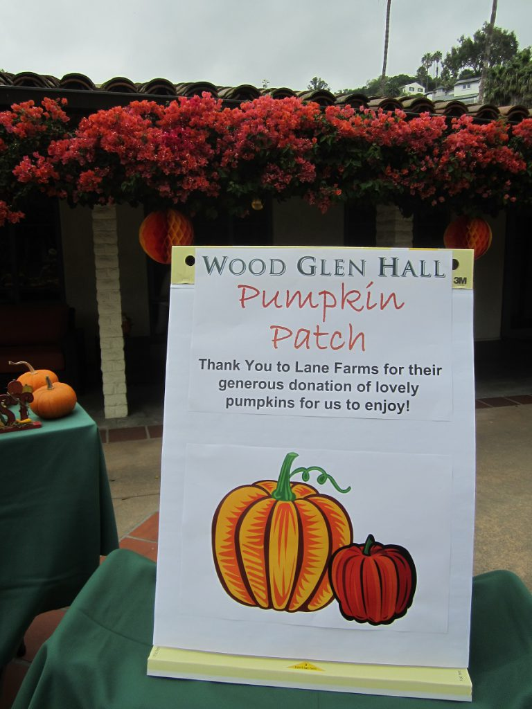poster thanking Lane Farms for pumpkin donation for assisted living