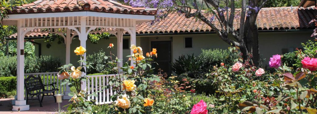 Gazebo and roses at Wood Glen Hall Assisted Living in Santa Barbara