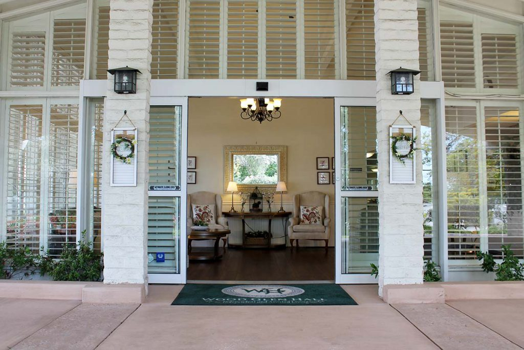 The front entrance to Wood Glen Hall - Assisted Living Facility in Santa Barbara, CA